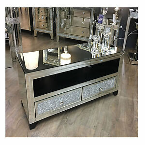Mirror Tv Stand Image Is Loading Large Mirrored Glass Sparkly Diamond