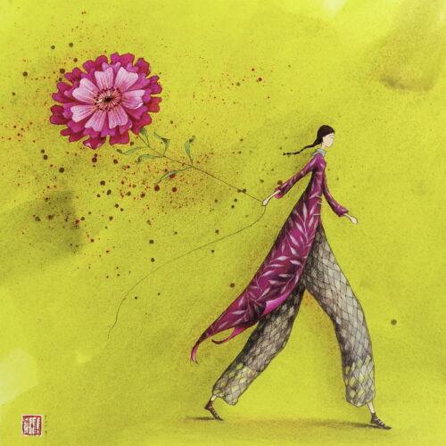 "Gaelle Boissonnard Postkarte 14x14 /""Frau mit pinker Blume/"" Grußkarte Kunst-Karte"