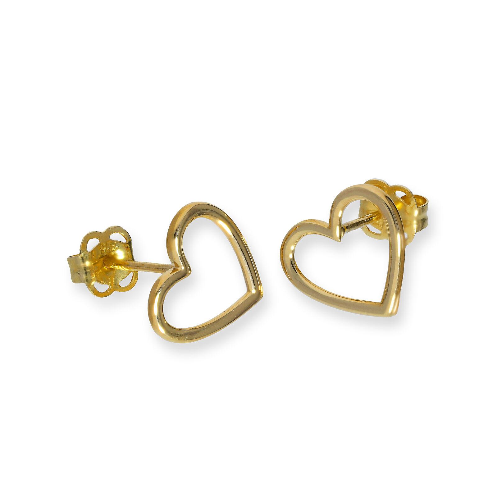 New 9ct GOLD HEART STUD EARRINGS