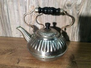 Antique-Nickel-Plate-Teapot-Tea-Pot-Wood-Handles-Ornate-B7