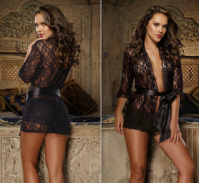 NEW Sexy Black Ladies Lace Lingerie Night Gown Babydoll Short Robes Size 8-20