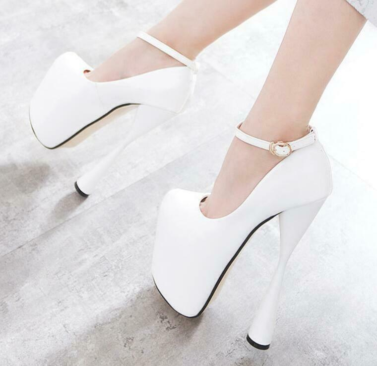 Womens Round Toe Ankle Straps Patent Leather Super High Winebowl Heels 19CM A158