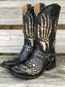 3b03cafa827 Details about Corral Men's Distressed Black & Tan Skull and Bones Square  Toe Biker Boots A3726