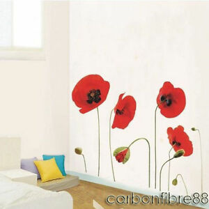 Image is loading Large-Red-Poppy-Flower-Wall-Stickers-Art-Decal-  sc 1 st  eBay & Large Red Poppy Flower Wall Stickers Art Decal Wallpaper Mural Decor ...