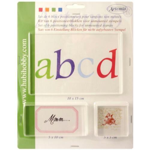 maxi lot 6 blocs acryliques de positionnement 5mm d/'épaisseur tampon clear stamp