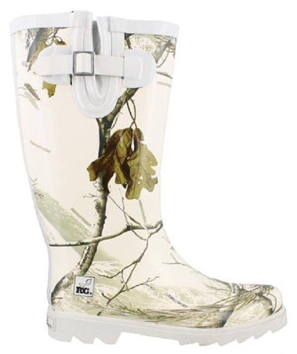 Realtree Girl Ladies Snow Camo Ladies Rain Boots, White Camouflage Rainboots