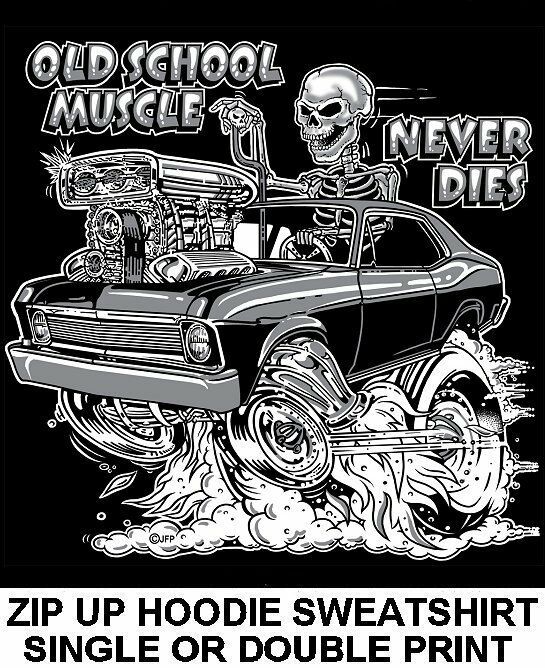 1968-74 OLD SCHOOL MUSCLE HOT ROD RACE BLOWER CAR SKULL ZIP HOODIE SWEATSHIRT 12