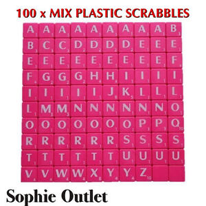 100x Plastic Scrabble Tiles Letters Numbers Crafts Alphabet Scrabbles PINK WHITE 5055892539232
