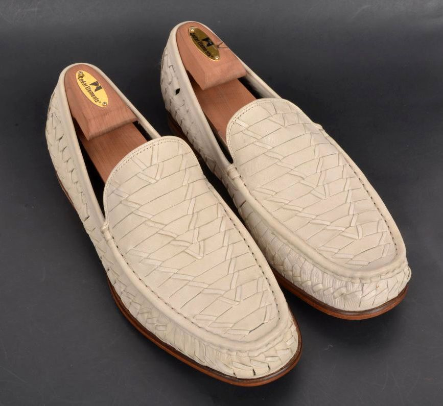 NEW NIB - COLE HAAN Ivory White Woven Leather Loafer Dress shoes BOX - 10.5 M