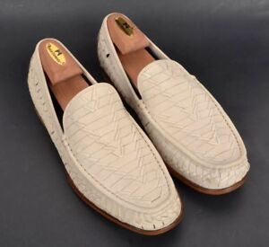 COLE-HAAN-Ivory-White-Woven-Leather-Loafer-Dress-Shoes-NEW-IN-BOX-10-5-M