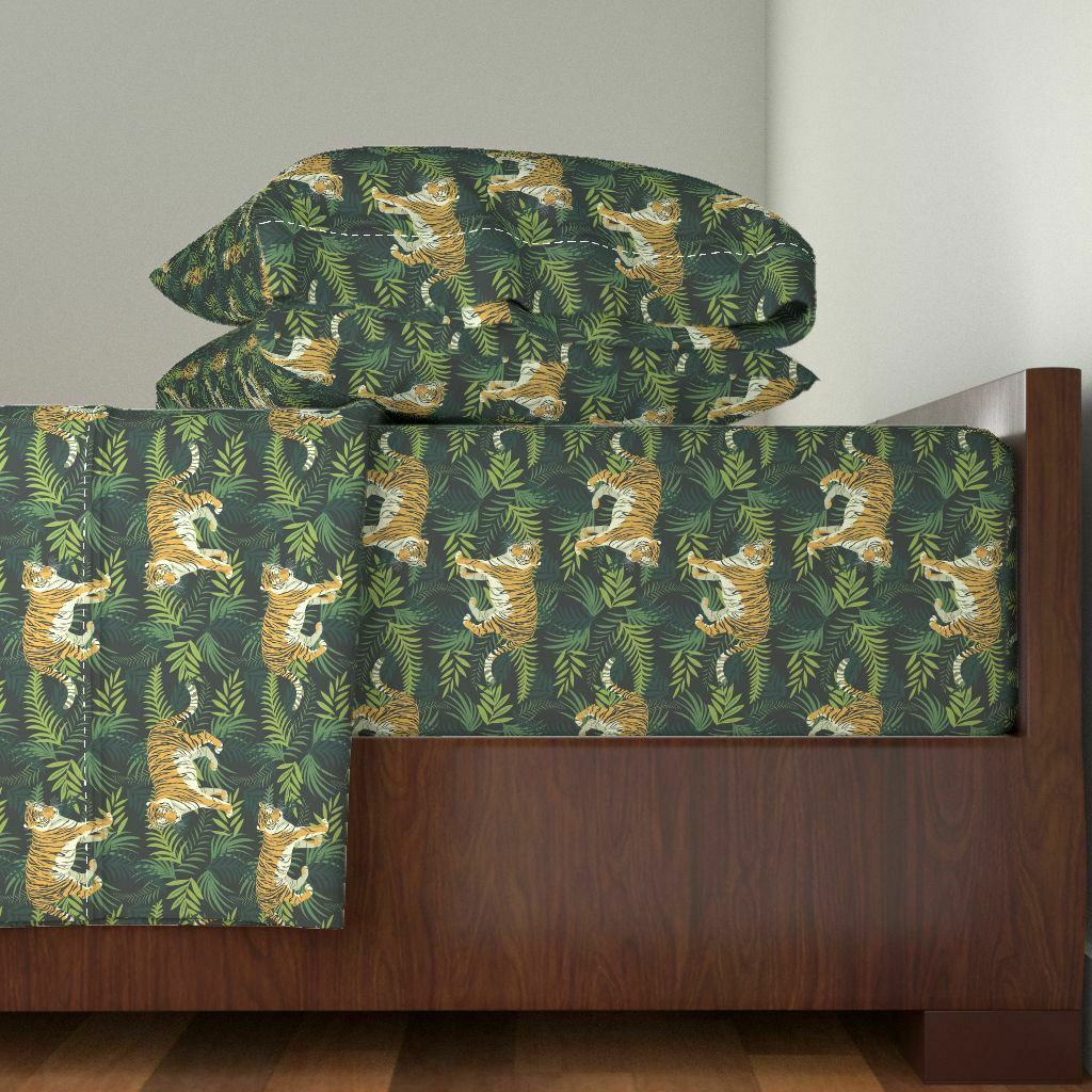 Animals Tropical Tigers Forest Safari 100% Cotton Sateen Sheet Set by Roostery