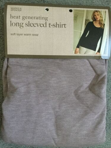 M&S HEAT GENERATING LONG SLEEVE T.SHIRT. SOFT LAYER WARM WEAR -