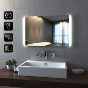Details About Designe Bathroom Mirror Led Lights Touch Switch Demister Pad Mirrors Wall Hung