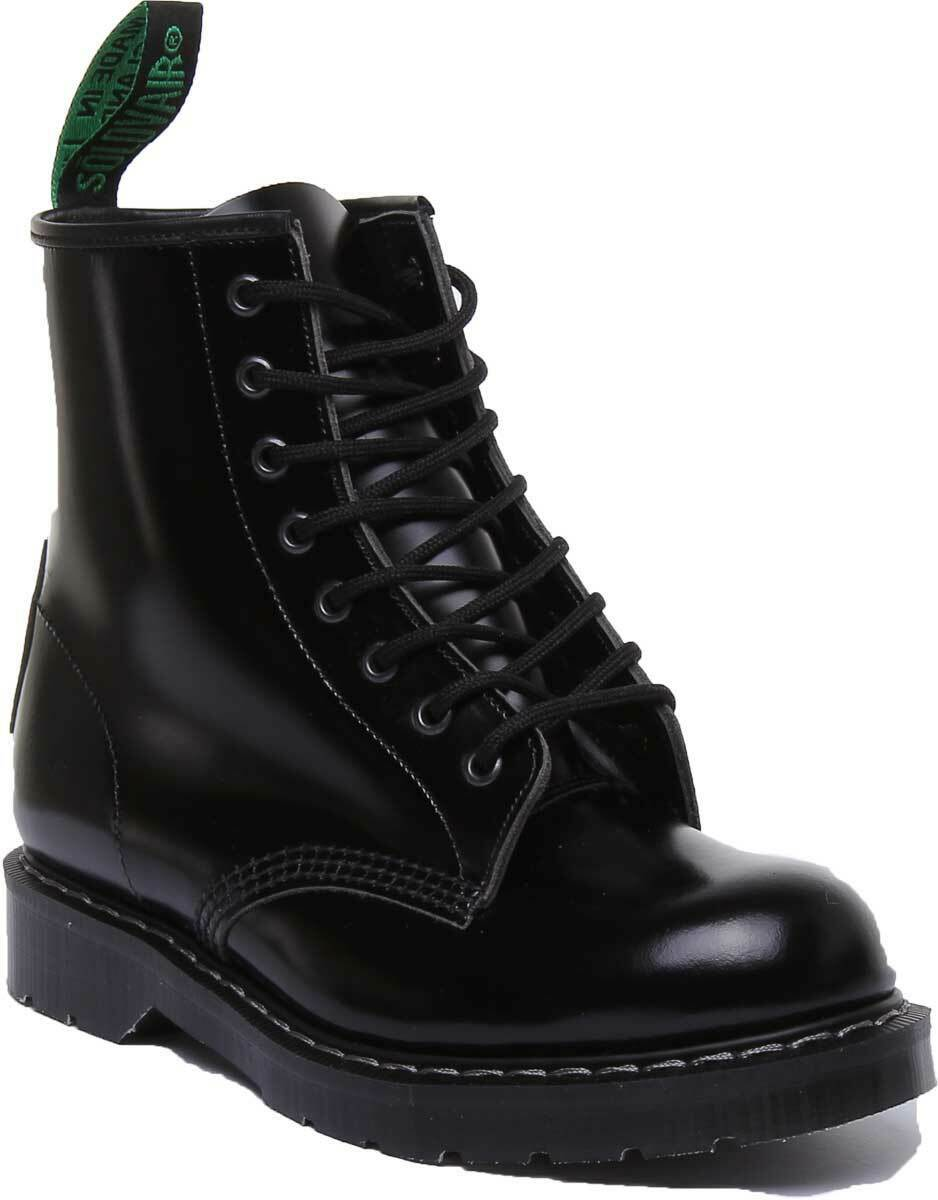 Solovair Black Shine 8 Eye Let Black Derby High Boots Unisex 3 - 12