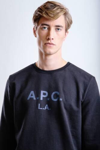*NEW* A.P.C L.A Menes men  Sweatshirt black //blue crew neck sz xs s m l  apc