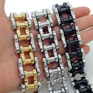 Men-039-s-Heavy-Gold-Silver-Black-Stainless-Steel-Motorcycle-Biker-Chain-Bracelet