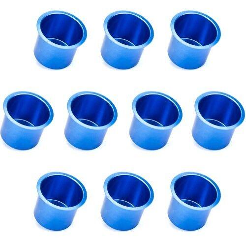 10 PC Jumbo Blue Vivid Aluminum Drop In Drink Custom Poker Table Cup Holders