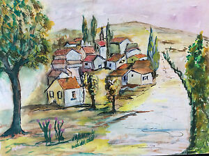 Provence-Village-Provencal-Watercolour-Anonymous-France