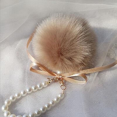 Cute Fluffy Faux Rabbit Fur Pearl Bow Pompom Ball Handbag Pendant Key Chain