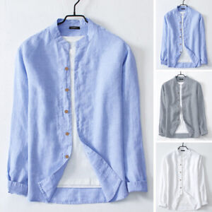 Men-Social-Casual-Slim-Fit-Dress-Shirts-Long-Sleeve-Collarless-Grandad-Shirt-Top