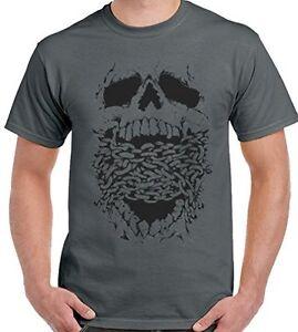 Craneo-y-cadenas-Hombre-Camiseta-Biker-Moto-Harley-Gotico-Camiseta