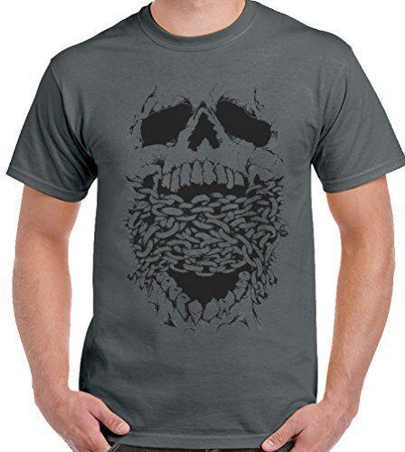 Skull And Chains Mens T-Shirt Biker Motorbike Gothic  T-Shirt