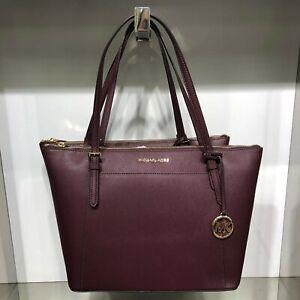 Details about Michael Kors Women Large Leather Shoulder Tote Bag Handbag Merlot Gold Purse