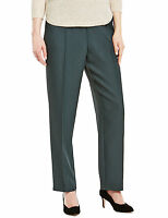 Ladies Green Check Textured Pull On Trousers From M&s In Size 8 Short Length