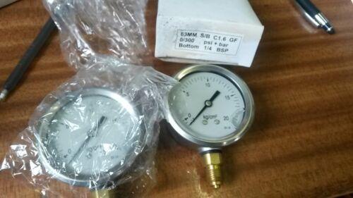 Calibrador De Presión Caja de acero inoxidable 1//20 Kg//cm ^ 2 Lleno De Glicerina 1//4 BSP 63mm