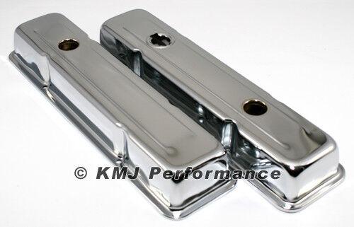 SBC Chevy 350 Chrome Short Steel Valve Covers w// Oil Cap Hole 283 305 327 400