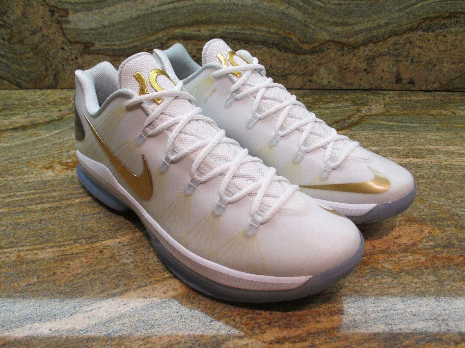 Nike Kd 5 V Elite Promo Probe Sz 13 White Metallic Gold Kevin Durant 585385-100