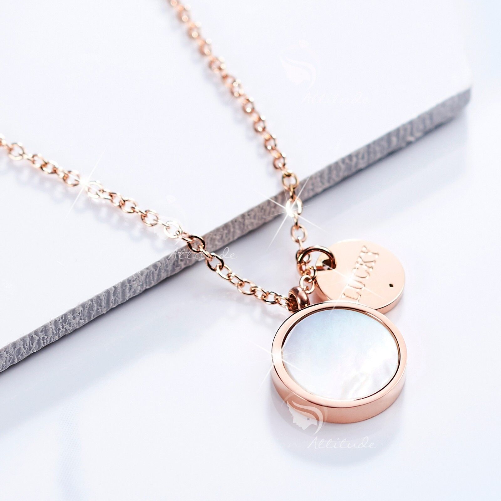 18k rose gold plated stainless steel round shell lucky pendant ... bbcf197d877