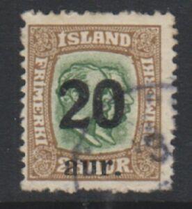 Iceland-1922-20a-on-25k-Yellow-Green-amp-Bistre-stamp-G-U-SG-141-b