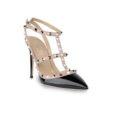 Classic Pumps Pointy Toe Buckle Strappy Studded Rivets High Heels Court Shoes