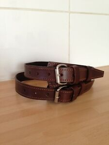 Brand-New-A-Pair-Leather-Double-Shot-Gun-Rifle-Case-Straps-with-Brass-30-039-039
