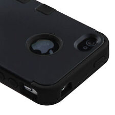 for iPhone 4 4G 4S Black High Impact Armor Hard & Soft Rubber Silicon Case Cover
