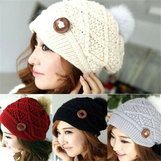 FD1999 Winter Warm Hat Women Button Crochet Knit Ski Beanie Ball Wool Beret Cap