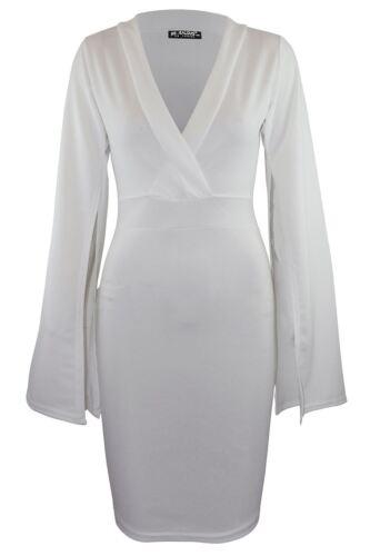 Womens Ladies Split Cape Long Sleeve Bandage Wrap Over V Neck Bodycon Mini Dress