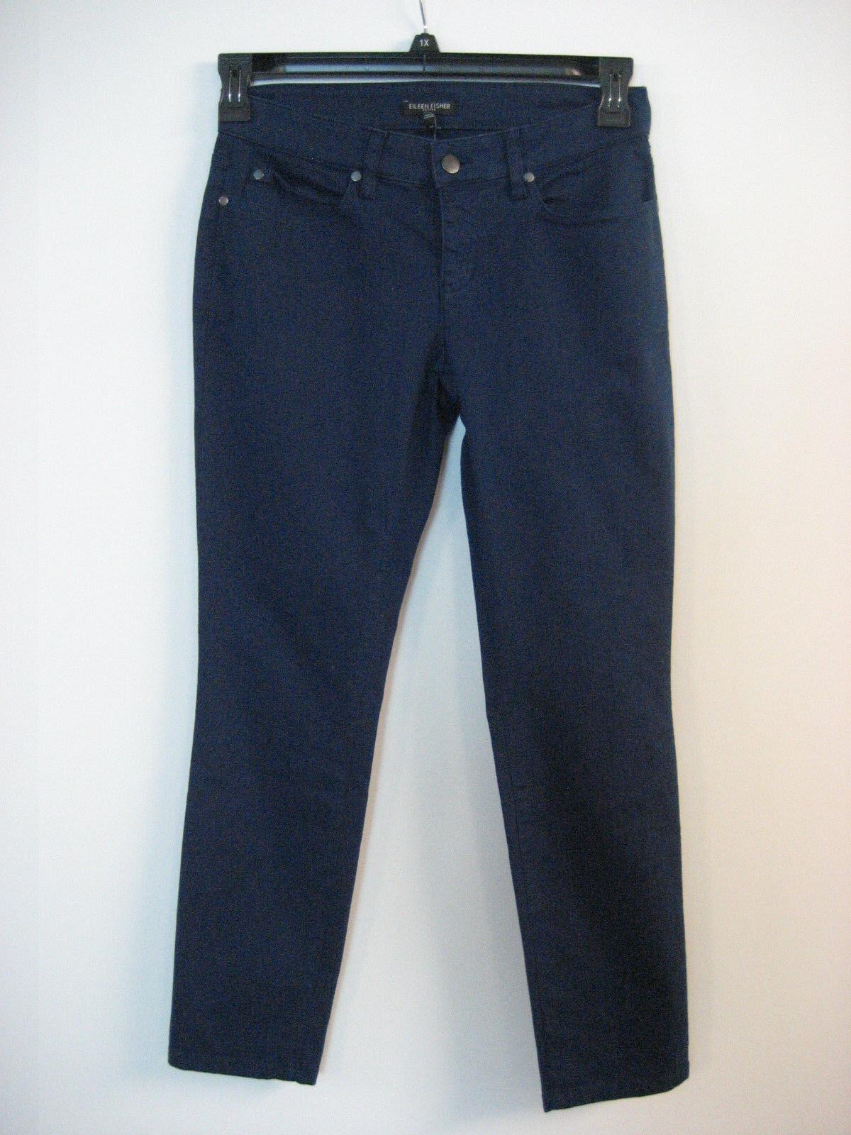 EILEEN FISHER Stretch Twill Cotton blå Bonnet Slim Ankle Pants 2P NWT  178