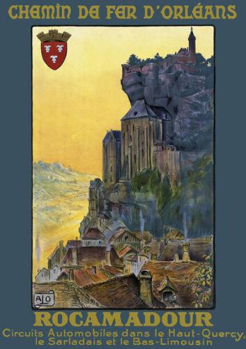 T29 Vintage Francia Rocamadour francés de viajes Poster volver a imprimir A4