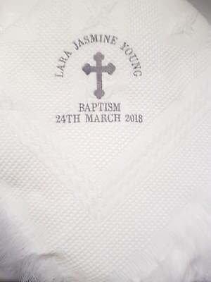 Baby shawl blanket wrap christening boy girl white baptism SUPER SOFT baptism