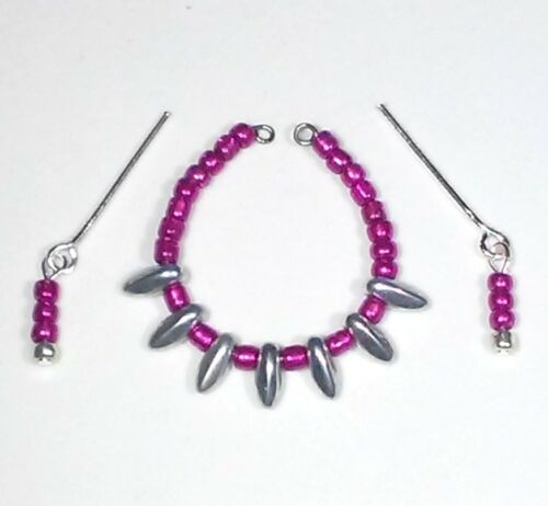 Dreamz FUSHIA /& SILVER Choker Necklace Set Doll Jewelry made for Barbie