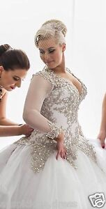 Silver-Lace-Beaded-Wedding-Dresses-Long-Sleeve-Bridal-Ball-Gown-Custom-Plus-Size