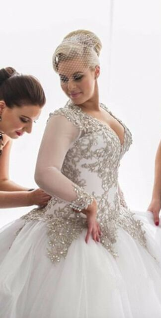 Silver Lace Beaded Wedding Dresses Long Sleeve Bridal Ball Gown Custom Plus  Size