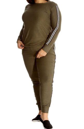 Womens Ladies Plus Size Two Piece Stripe Top Bottom Jogger Tracksuit Lounge Suit