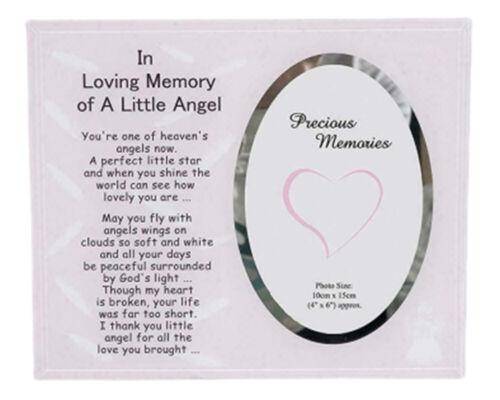 In Loving Memory cadre photo d/'un petit ange Memorial Garçon Fille Hommage Plaque