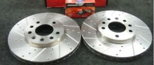 VAUXHALL ASTRA G ZAFIRA GSI TURBO BRAKE DISC FRONT CROSS DRILLED GROOVED
