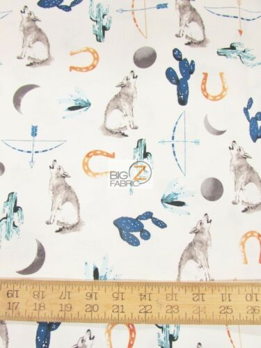 DESERT DAWN WOLVES WHITE BY HOFFMAN CALIFORNIA COTTON FABRIC FH-3692 BY YARD