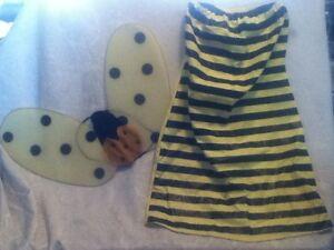 Bumble-Bee-Mardi-Gras-COSTUME-Yellow-Black-Glitter-Wing-Tube-Top-Dress-Halloween