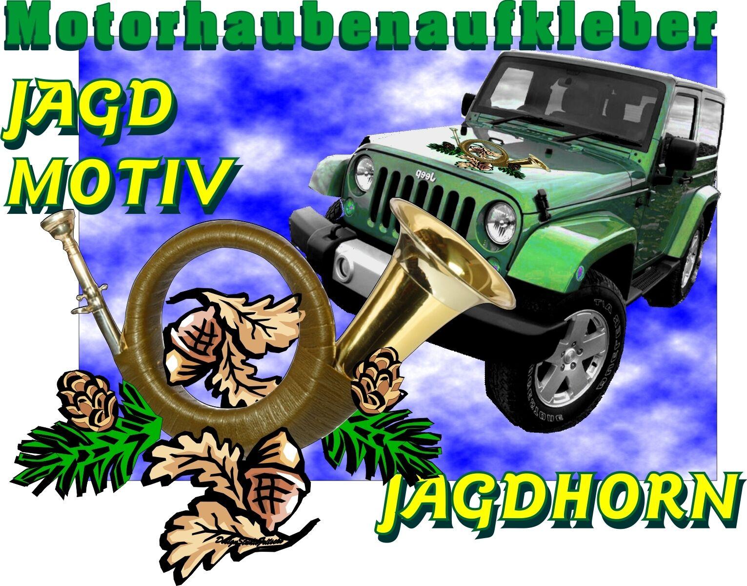 Sticker Sticker Sticker Motorhauber Auto Caravan Truck Suzuki Jeep SUV Wild Jagd Motiv  Jagdhorn 79f33d